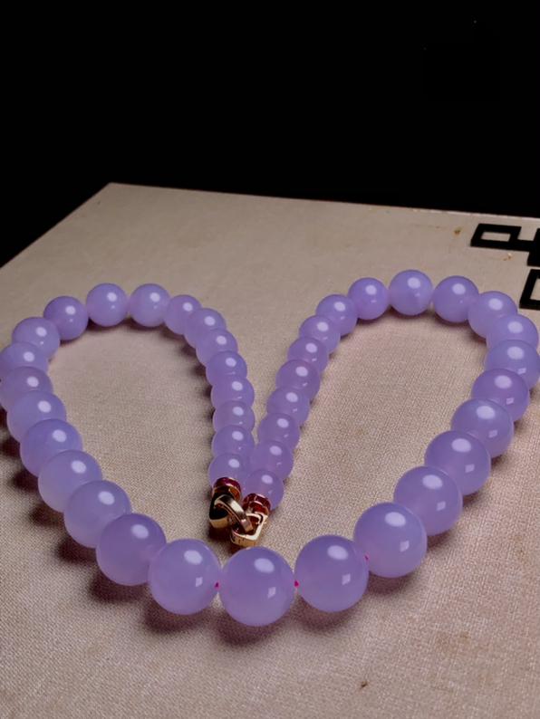 冰紫塔珠珠链, 直径10.2~15.3mm 41粒,总长越560mm, 172g, 18K金伴天然钻