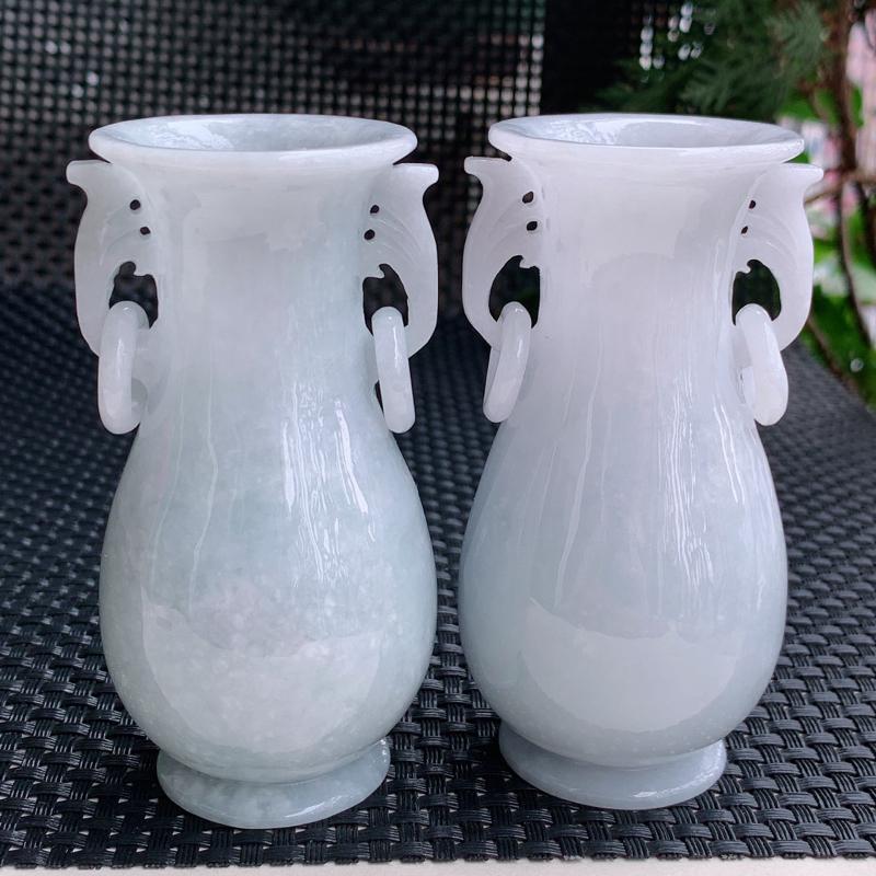 尺寸:91.1/46.3mm、90.3/46.4mm,A货翡翠冰润细腻花瓶摆件,编号0420a