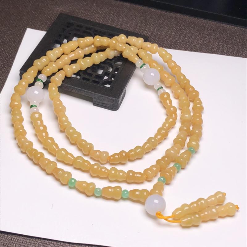 糯种黄翡翠葫芦珠翡翠珠链项链、76颗、直径4.8*8.4毫米、质地细腻、色彩鲜艳、A078CHJ