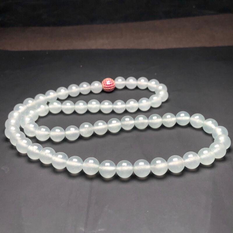 冰种白冰翡翠珠链项链,78颗,直径10.2毫米,质地细腻,冰透水润,水润光泽,隔珠是装饰品,A001AEO