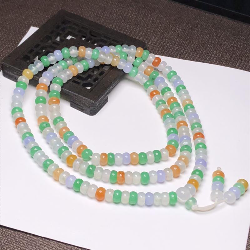 冰糯种多彩算盘珠翡翠珠链项链、200颗、直径5.4毫米、质地细腻、色彩鲜艳、A028BHM