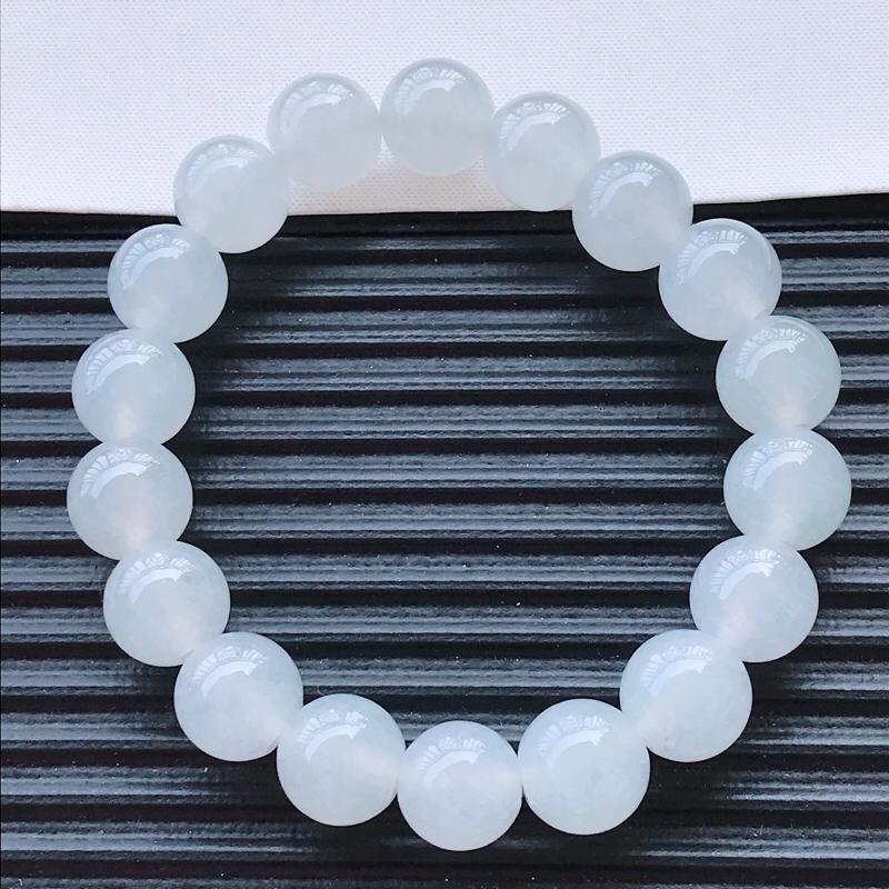 冰种水润精美圆珠翡翠手链  玉质细腻  冰清玉润  玲珑剔透  尺寸直径11.0