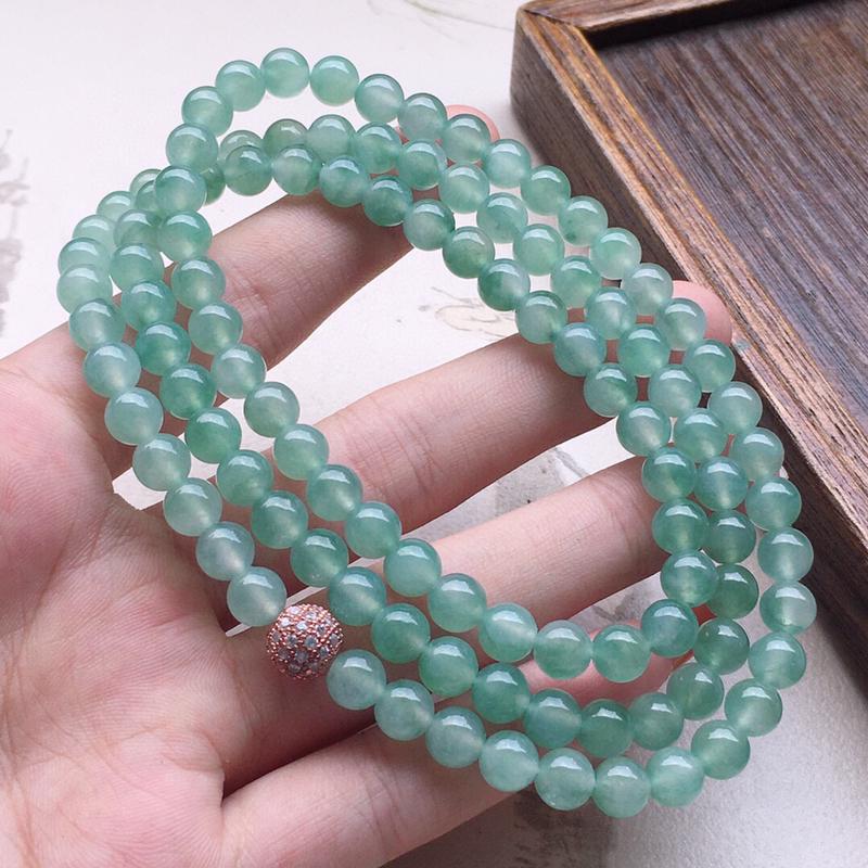 串珠项链,翡翠圆珠项链(铜扣),玉质莹润,佩戴佳品,单颗尺寸:6.2mm,108颗,重49.40克