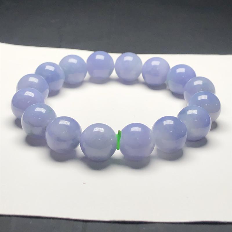 糯种蓝紫翡翠珠链手串,直径13.7毫米,质地细腻,水润光泽,A031AHN