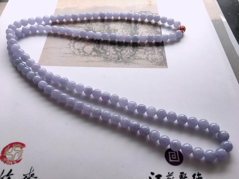 #自然光实拍# 紫罗兰圆珠项链 玉质细腻,种老起胶,隔珠为配饰。颗数:108颗