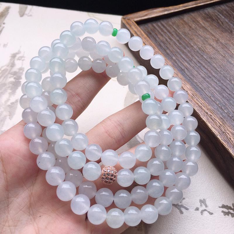 串珠项链,翡翠圆珠项链(铜扣),玉质莹润,佩戴佳品,单颗尺寸:8.2mm,108颗,重106.11克