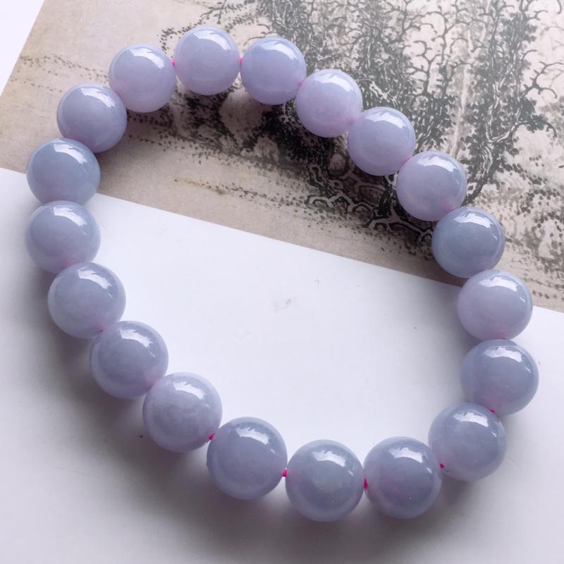 #自然光实拍# 紫罗兰圆珠手链 玉质细腻,种老起胶,上手效果很赞。