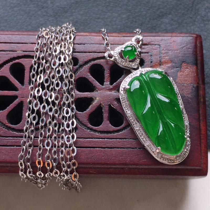 叶子项链,翡翠18K金伴钻镶嵌满绿叶子项链,玉质细腻,雕工精美,佩戴送礼佳品,包金尺寸:20.6*9