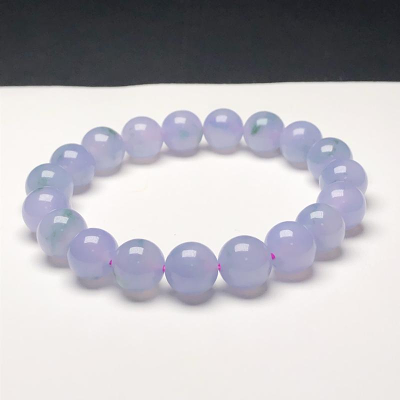 糯种蓝紫飘花翡翠珠链手串,直径9.9毫米,质地细腻,水润光泽,A318AGN