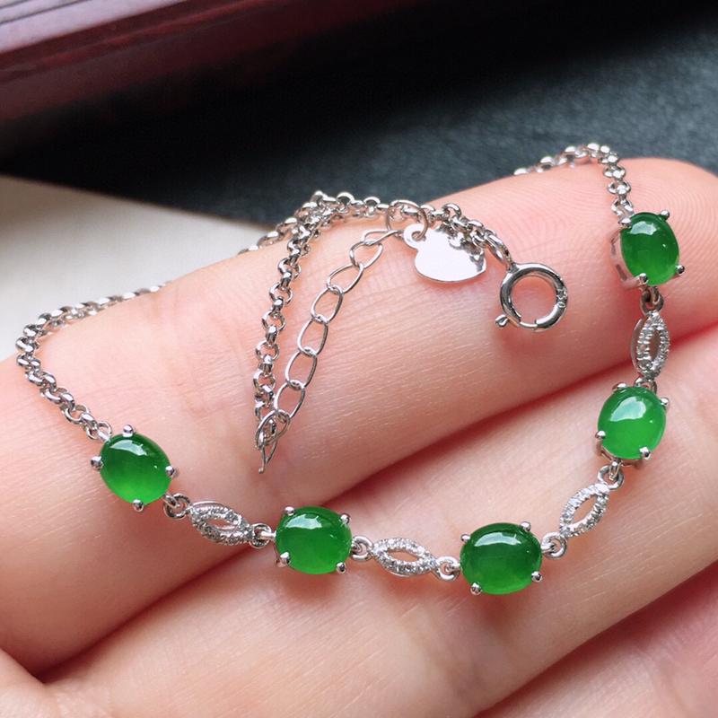 串珠手链,翡翠18K金伴钻镶嵌满绿蛋面手链,玉质细腻,雕工精美,佩戴送礼佳品,裸石尺寸:取大4.6*
