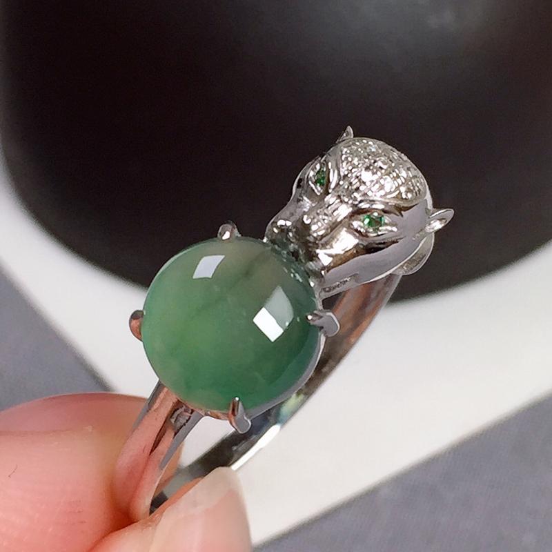 冰种湖水底虎头翡翠戒指,种色好,款式新颖,指圈:13#,尺寸:7.6-7.2-3.8