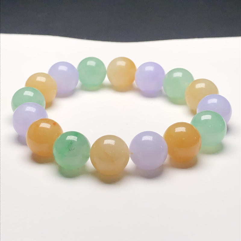 糯种糖果色翡翠珠链手串,直径11.8毫米,质地细腻,色彩鲜艳,A031AEN