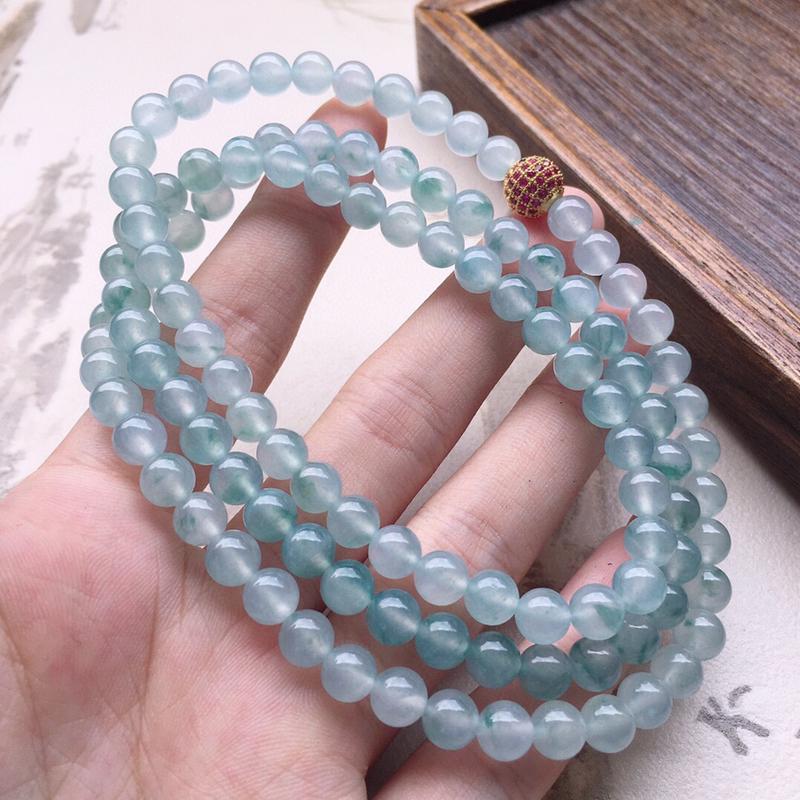 串珠项链,翡翠圆珠项链(铜扣),玉质莹润,佩戴佳品,单颗尺寸:6.3mm,110颗,重50.45克