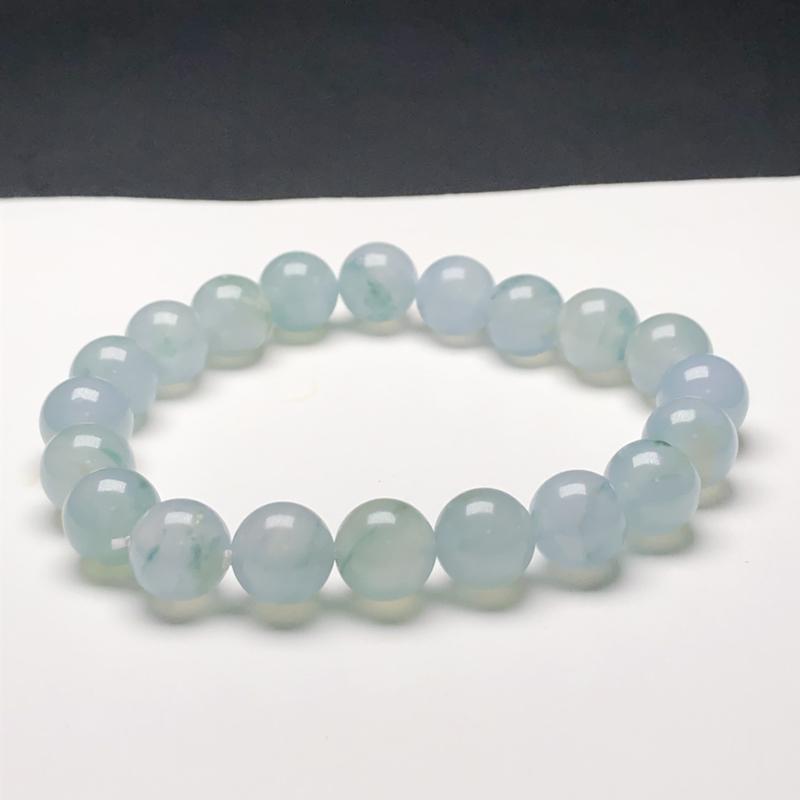 糯化种蓝底翡翠珠链手串,直径9.6毫米,质地细腻,水润光泽,A219HN