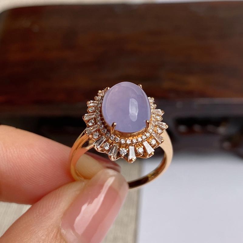 A货翡翠-种好紫罗兰18k金伴钻蛋面戒指,尺寸-裸石10.3*8.2*2.8mm整体16.5*14.