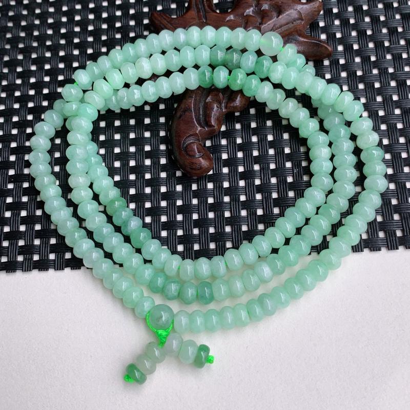 尺寸:174颗5.9/3.8mm、A货翡翠冰润带绿算盘珠项链,编号0426a