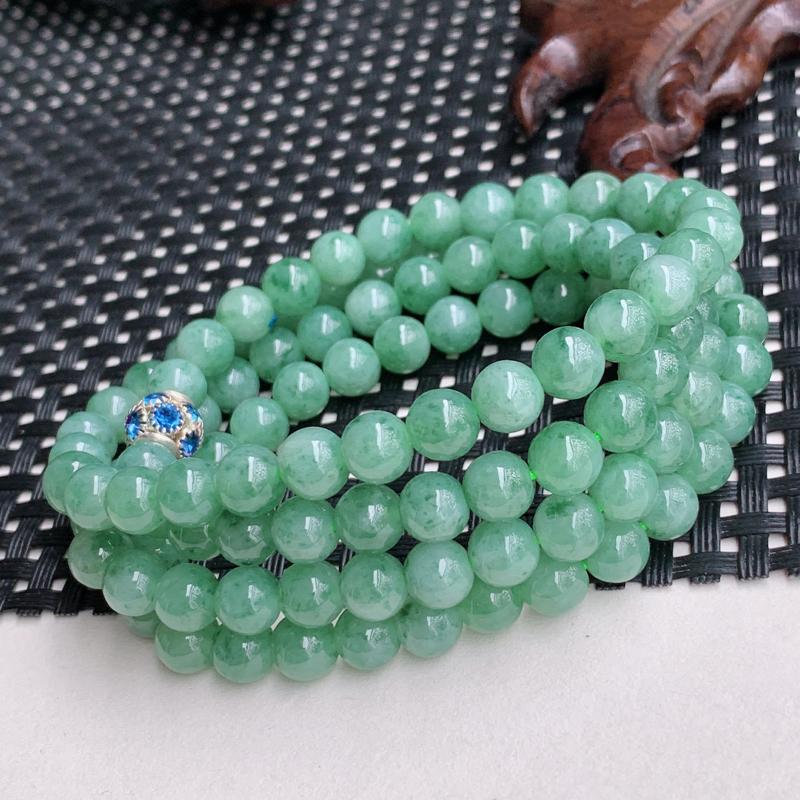 尺寸:108颗6.5mm,A货翡翠冰润飘花圆珠项链,编号0426a