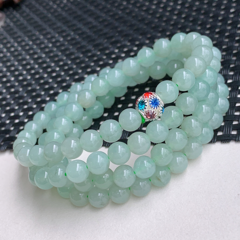 尺寸:108颗6.7mm,A货翡翠冰透带绿圆珠项链,编号0428a