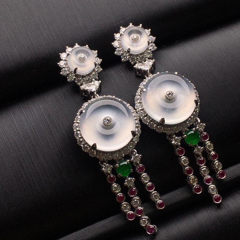 白冰平安扣翡翠耳环,种老水润,款式精美,饱满圆润,性价比高,裸石尺寸11.2-3.6整体43.5-1