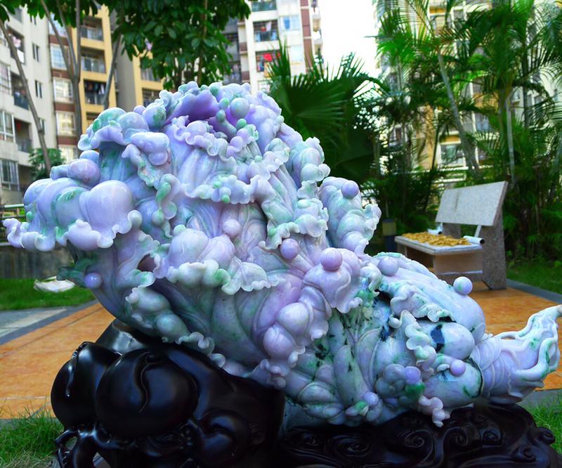 【典藏】缅甸天然翡翠A货 精美春带彩 八方来财 财源广进 白菜摆件 雕刻精美线条流畅 种水好 大件饱