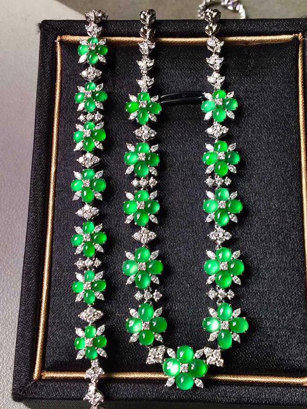冰种满绿套装,项链加手链,水润无裂,项链裸石3.3/2手链裸石3/2/2
