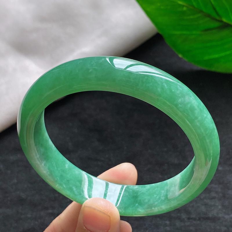 正圈:57.7mm 天然a货种水好满绿正圈翡翠手镯,圈口:57.7/13.0/7.8mm