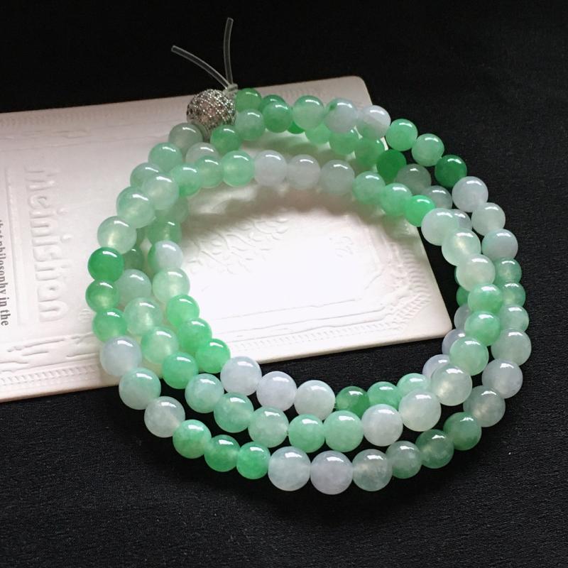 【值得推荐】好漂亮的冰飘绿妈妈珠链,可做项链手链两种带法,低调奢华,圆珠尺寸5.7-6.9mm,耐