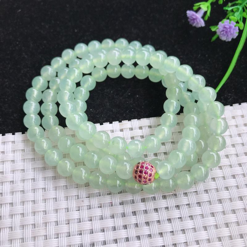 冰种晴绿圆珠项链,细腻莹润,冰莹剔透,清爽干净,色泽清新,淡雅,清秀气质,韵味水灵,尺寸6.8,10