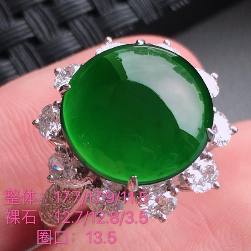 #自然光实拍#,满色戒指,种水好,料子细腻,裸石尺寸:12.7*12.8*3.5