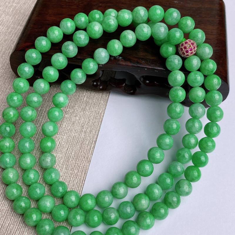 A货翡翠-种好满绿圆珠项链,尺寸-其一圆珠直径7.7mm