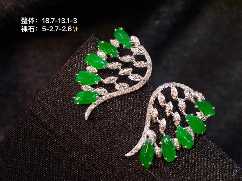 冰阳绿天翅膀耳钉  裸石颗颗冰阳绿 鲜甜起光 重金轻奢款 精美气质
