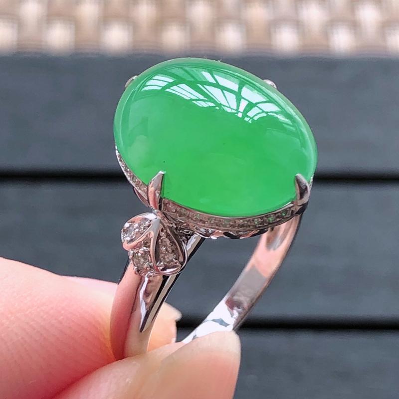 0506,18k金镶嵌冰绿戒指,裸石尺寸 : 15*12.3*4.5,总体尺寸:15*12.3*10