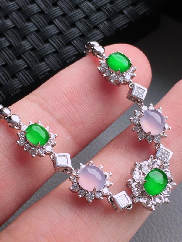 #自然光实拍#,双彩手链,色泽鲜艳,料子细腻,裸石尺寸:5.7*4.5*3.0