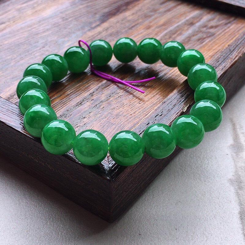 串珠手串,翡翠带绿圆珠手串,玉质莹润,佩戴佳品,单颗尺寸:10.0mm,重31.55克