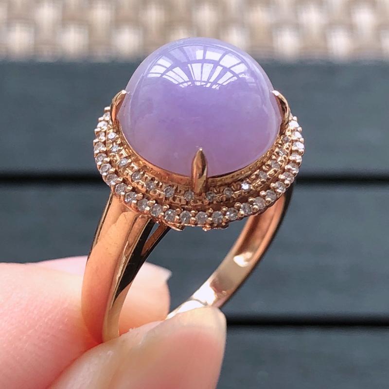 0506,18k金镶嵌紫罗兰戒指,裸石尺寸 : 10.6*4,总体尺寸:14*10.6,内径:17,