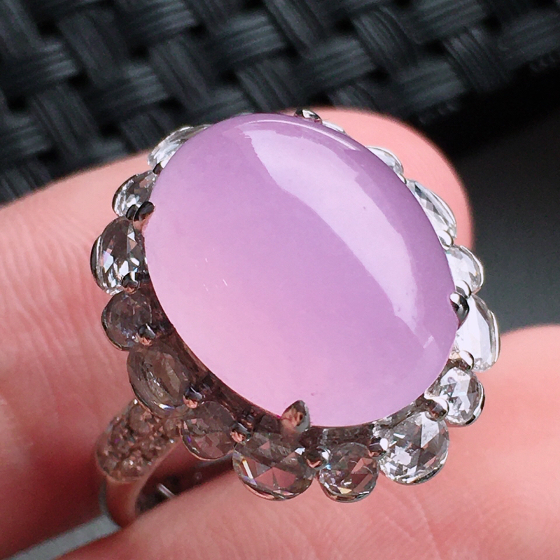 #自然光实拍#,紫色戒指,色泽鲜艳,料子细腻,裸石尺寸:14.5*11.6*5.0