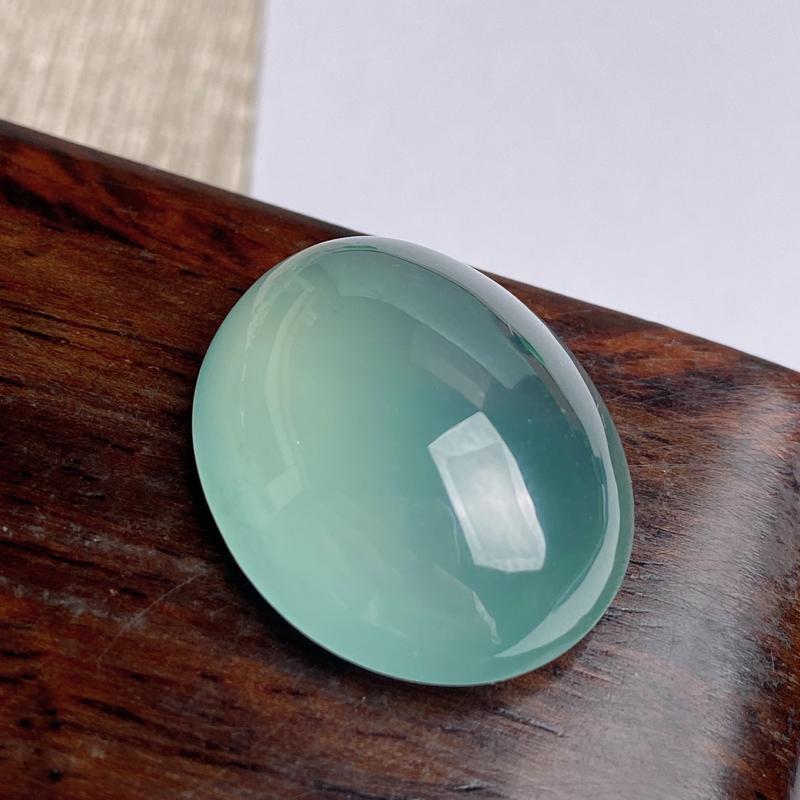 A货翡翠-种好冰种蛋面镶嵌件,尺寸-23.4*18.9*9.3mm
