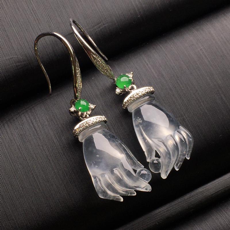 白冰掌上明珠翡翠耳环,种老水润,款式精美,饱满圆润,性价比高,整体37.5-10.4-4.7裸石15