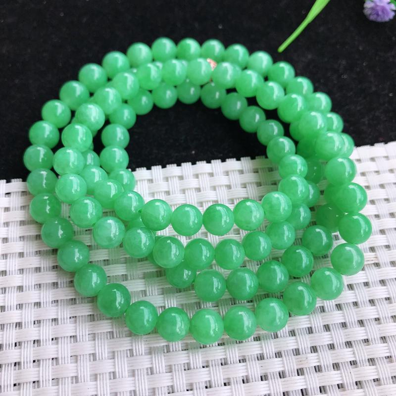 老坑精美满绿圆珠项链,玉链,细腻,种水足,色阳,均匀,鲜艳靓丽,高档大气,出众迷人,气质高雅,单珠尺