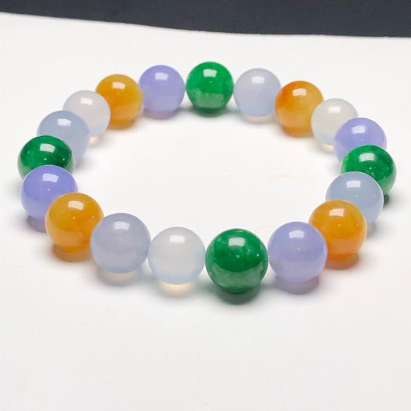 冰糯种糖果色翡翠珠链手串,直径9.6毫米,质地细腻,色彩鲜艳,A345EO