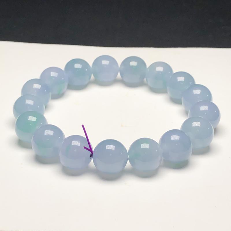 糯种飘花翡翠珠链手串,直径12.0毫米,质地细腻,水润光泽,A028DEN