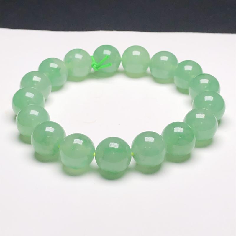 糯化种湖水绿翡翠珠链手串,直径11.7毫米,质地细腻,水润光泽,A065ECN
