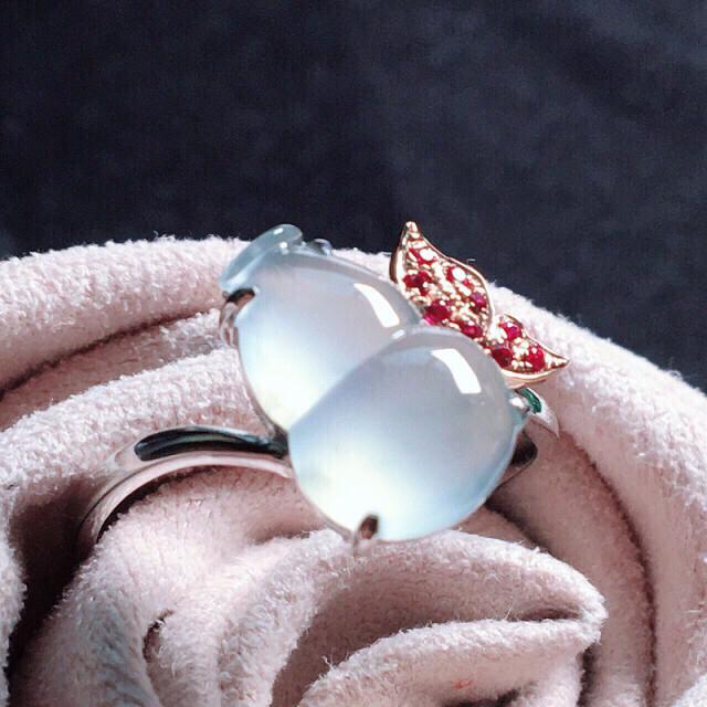 【值得推荐】好漂亮的大个饱满老种起胶冰葫芦戒指,福䘵,招财避邪,18k金镶嵌,尺寸11.6*7.7