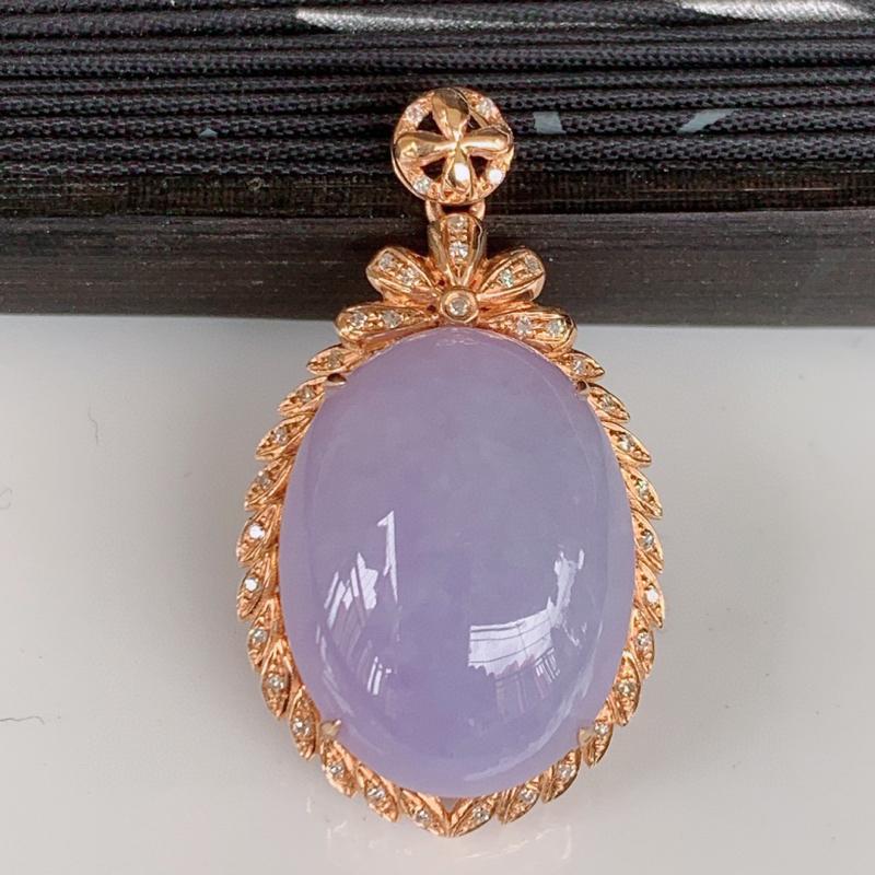 自然光实拍~18K金伴钻镶嵌大颗紫罗兰翡翠吊坠,紫气东来,时大尚方,款式经典,佩戴优雅高贵上档次