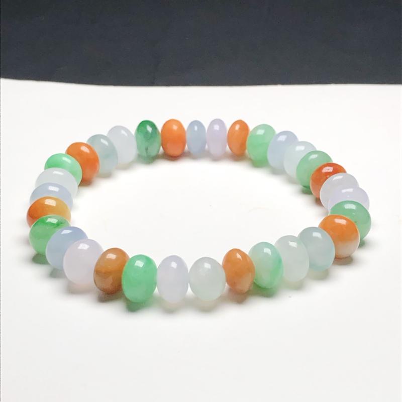 糯化种多宝翡翠珠链手串,直径9.3*6.0毫米,质地细腻,色彩鲜艳,A099CFM