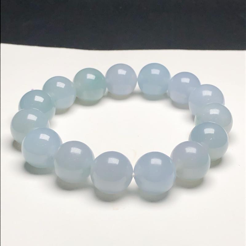 糯种蓝底翡翠珠链手串,直径13.8毫米,质地细腻,水润光泽,A099DCM