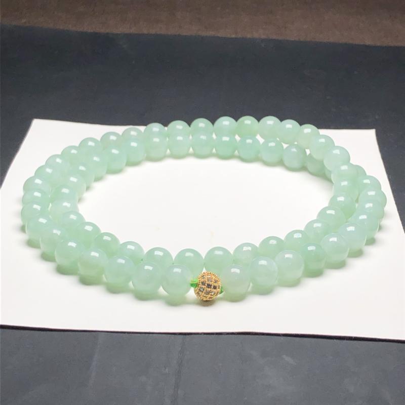 糯种晴底翡翠珠链项链,68颗,直径9.1毫米,质地细腻,水润光泽,A099BAM