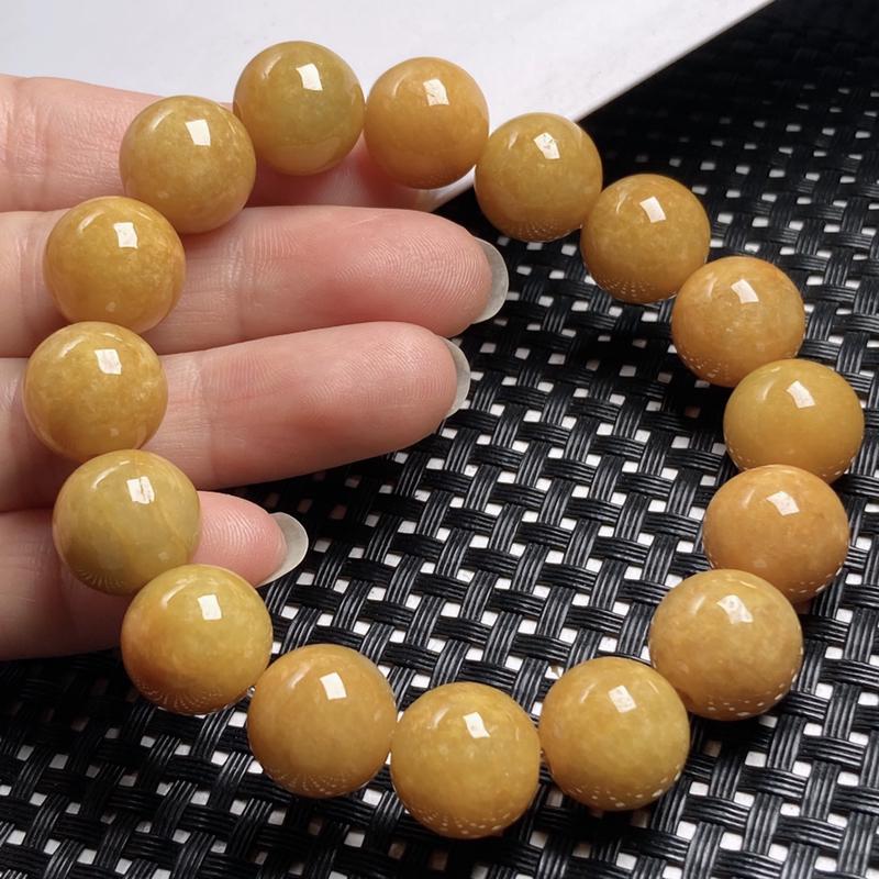黄翡圆珠翡翠手串手链 种水好 厚装饱满 雕工精细 上手高贵大方 商品尺寸珠大取其一13*13.3*1