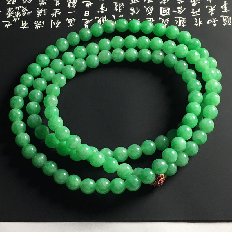 糯种满色珠链 108颗 直径6毫米 玉质细腻 翠色艳丽
