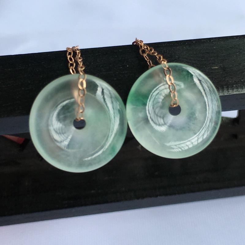 18k金天然缅甸老坑翡翠A货飘绿平安扣耳钉,料子细腻柔洁,尺寸包金46/12.5/3mm,裸石12.